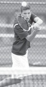 Seniors Jereme Rupp, top, at number one singles, and Michael Short, bottom, number two doubles, won both of their matches last week.– photos by Mary Huber