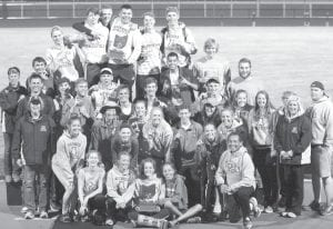 Members of the AHS girls and boys track teams and their coaches hold the 2017 NWOAL championship trophies. Thirteen Blue Streak track and field athletes also won individual titles.– photo courtesy Rosemary Fisher