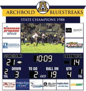 This graphic shows how the new AHS football scoreboard will appear when completed. The video screen will be larger, with a high resolution. The resolution is so good, that Aaron Rex, superintendent, said the district will show a movie on the screen.– courtesy graphic