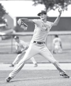 Rigo Ramos throws a strike to a Tinora batter, Thursday, June 29, during their sectional contest. Ramos struck out seven batters in Archbold's 19-2 victory.– photo by Mary Huber