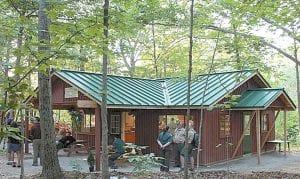 The former Pioneer Cabin that once stood in Ruihley Park is now the Bonnie Shook Nature Center at Boy Scout Camp Lakota, near Defiance.– courtesy photo