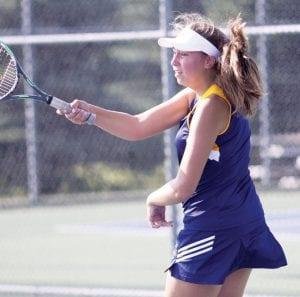 Elizabeth Mignin won her first varsity match last week.– photo by Mary Huber
