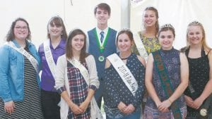 Fulton County Fair royalty includes, front row from left: Trinity Welch, Berkey, Fulton County Fair Lamb & Wool Queen; Bevanne Pember, Berkey, Fulton County Fair Junior Fair Queen; Katie Fritsch, Berkey, Fulton County Pork Industry Queen. Back row: Rachel Jordan, Swanton, Fulton County Fair 4-H Queen; Rachel Short, Archbold, Fulton County Fair Beef Queen; Connor Hagans, Archbold, Fulton County Fair 4-H King; Elizabeth Mignin, Archbold, Fulton County Fair Puppy Princess; Courtney Krieger, Wauseon, Fulton County Fair Dairy Ambassador.– photo by Mary Huber