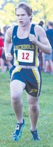 Archbold's Caden Garrow placed 18th in the Boys Blue race.– photo by Beth Foor