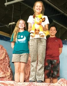"""Meggie Mello, Hollyn Klopfenstein and Trace Schultheis, from left, stand on a set from the Archbold Community Theatre production of """"The Lion King Jr."""" ACT is employing a different rehearsal technique to prepare the young actors for the show.– courtesy photo"""