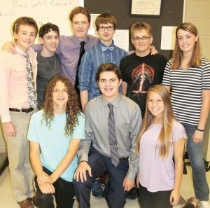 "Part of the cast of the Pettisville High School production of ""Flowers for Algernon,"" which debuts Saturday, Oct. 14. Front row, from left: Birch Baer, Owen King, Bekah Liechty. Back row: Jacob Myers, Ryan Rufenacht, Zachary Basselman, Josh Bock, Austin Rearick, and Gretchen Lee.– photo by David Pugh"