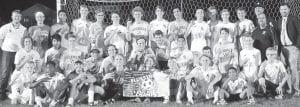 The AHS boys soccer team won its third straight NWOAL championship. Front row, from left: Sean Hageman, Sonson Nafziger, Lucas Yoder, Caleb Wooley, Noah Cheney, Chase Kohler, Clay Gerig, Isaiahs Gracia, manager. Second row: Denver Beck, Alexis Herrera, Elijah Zimmerman, Josh Kidder, Kaiden Bedsole, Andrew Hogrefe, Josh Croy, Daniel Nieves, Daniel Oyer, Devin Witte, Levi Tilse, Caden Gericke, manager. Third row: Johnny Lantz, coach; Trevan Kindinger; Josiah Magallanes; Ethan Hagans; Luke McQuade; Nick Waidelich; Trey Theobald; Connor Hagans; Joshua Richardson; Cam Collins; Miles Rupp; Josiah Kindinger; Jarrett Waidelich; Phil Bontager, coach; Ali Gracia, coach; Sean Stewart, head coach.– photo by Mario Gomez