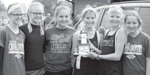 The Pettisville junior high girls cross country team won a BBC championship, Saturday, Oct. 14. From left: Renee Hoylman, Elise Hoylman, Karsyn Hostetler, Kate Roth, Ella Hudspeath, Emma Salmi.– courtesy photo