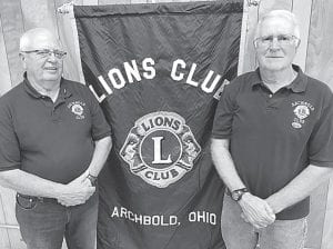 Jerry Rohrs, left, and Karlin Wyse were honored for 45 years of service to the Archbold Lions Club.– courtesy photo