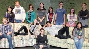 """Members of the cast of the Archbold High School production of """"Incognito"""" appear on set. One cast member admitted a problem they face is the cast having a case of the giggles. Seated, from left: Jeremiah Hartman, Keyndal Hudson, Will Nofziger, Denilson Gaona, Rosalyn Flores. Standing: Lily Delgado, Justin Howard, Erin Reichert, MacKenna Whitacre, Olivia Mendez, Drew McCarty, Kate Nofziger, Colt Boyd.– photo by David Pugh"""