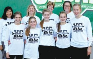 Mothers of five Pettisville girls cross country runners who ran in the 2017 Division III state meet also ran in the state cross country meet when they were in high school. Front row, from left: Elizabeth Sauder, Kate Stuber, Morgan Leppelmeier, Sarah and Nichole Foor. Back row: Ezzie (Avina) Sauder, a 1987 Pettisville graduate; Lori (Nofziger) Stuber, a 1987 Pettisville graduate; Amy (Herman) Leppelmeier, a 1992 Edgerton graduate; and Beth (McDonald) Foor, a 1988 Bellefontaine graduate. Stuber and Sauder were on the 1983 PHS girls team that finished third at state.– photo by Beth Foor