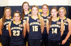 Letterwinners on the AHS girls basketball team are, from left: Brooke Kohler, Kamryn Hostetler, Lily Krieger, Blair Bucklew, Andi Peterson, Gabby Nafziger, Emie Peterson.– photo by Mary Huber