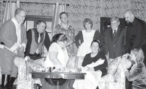 "The cast of the Archbold Community Theatre Christmas production of ""Happy Hollandaise!"" appears on stage. Front row, from left: Teresa Van Sickle, Lindsay Bialorucki, Angelina Sorge. Back row: Jeff Roth, Jeff Patterson, Jason Westrick, Robin Kiefer, Randy Stuckey, Paul Spencer. The play, described as a British farce, opens Friday, Dec. 1, at Giffey Hall in Ridgeville Corners.– courtesy photo"