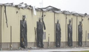 Damage from a severe thunderstorm that hit Archbold, Sunday, Nov. 5, was evident along the roofline above the truck docks of the ConAgra plant that afternoon.