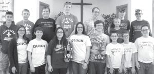 "The highest scoring teams at the fourth Bible quiz meet were ""Dust You Shall Eat,"" Tedrow, taking top honors with a 142-point average; ""Quick,"" Central, winning all four of its matches and averaging 131; ""Guards,"" Pettisville Missionary, winning all three of its matches and coming in third with 112; and ""Vindicated,"" North Clinton, fourth with 102. Front from left: ""Quick"" members Kate Nofziger, William Nofziger, Leah Beltran, Hope Nofziger and ""Dust"" members Jacob Myers, Samuel Myers, Austin Aeschliman, Levi Myers. Back row: ""Guards"" members Hyatt Stamm, Joshua Norr, Samuel Ruffer, Isaac Norr, and ""Vindicated"" members Conner Johnson, Oliver Shaw, Ian Armstrong, Chris Foor.– courtesy photo"